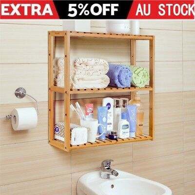 3 Tier Kitchen Storage Rack Basket Wall Mounted Stand Bamboo Organiser Stand AU