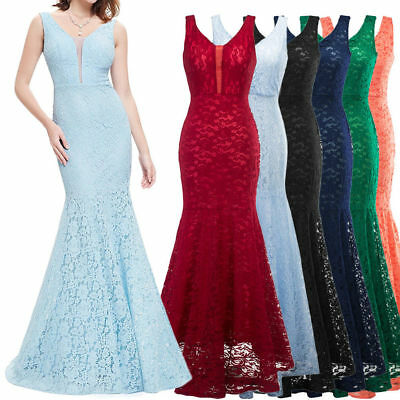 Womens Retro Long Lace Fishtail Bridesmaid Wedding Prom Party Formal Maxi Dress