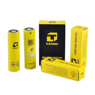 4pcs Authentic Listman IMR 3.7V Battery 2600mah 60A 18650 Rechargeable Batteries