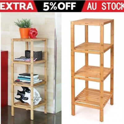 4 Tier Bamboo Wooden Kitchen Bath Bathroom Shelf Rack Organiser Storage Stand AU