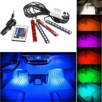 4x 9LED RGB interior Atmosphere Neon Strip Light Remote Control With Car Charger