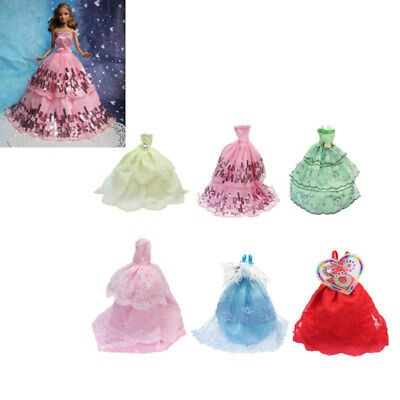 6 Pcs Lot Handmade Wedding Dress Party Gown Clothes Outfits For Barbie Doll Gift