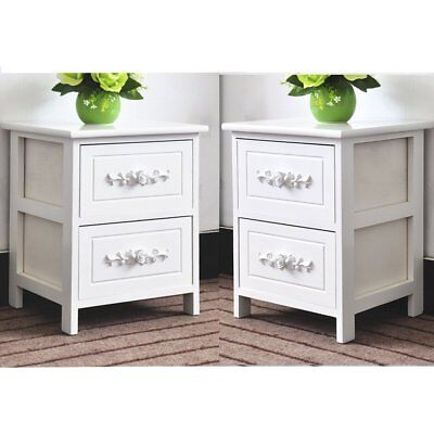 2x Rose Wooden Bedside Tables Cabinets Nightstand 2 Storage Drawers Home Bedroom