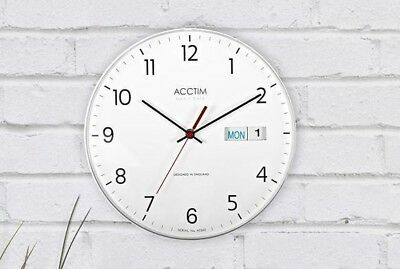 Acctim Datetime Day and Date Wall Clock, White Analogue Quartz Battery Powered
