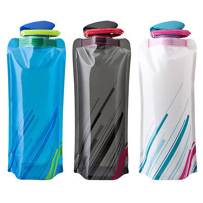 2X 700ml Reusable Foldable Collapsible Drink Water Bottle Outdoor Camping Hiking