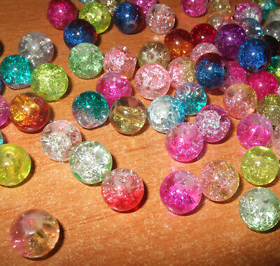 100 X 8mm CRACKLE GLASS BEADS MIXED COLOURS FOR JEWELLERY MAKING AND CRAFTS B14