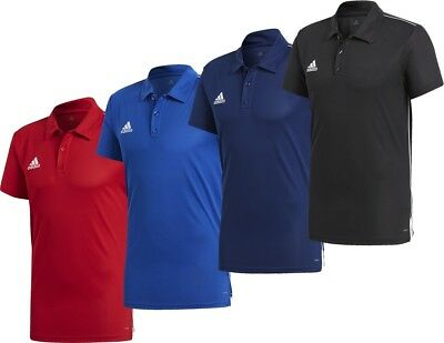 Adidas Men's Core 18 Climalite Polo Football Soccer T-Shirt Black Navy Red Blue