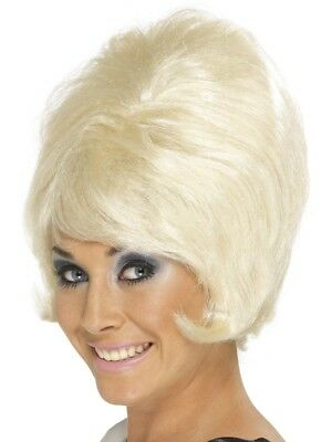 60s Classic Beehive Wig Blonde Short Ladies Adults Fancy Dress Costume Accessory