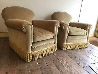 Pair Of Vintage Art Deco Club Chairs / Armchairs In Pale Gold Velvet.  Sofa