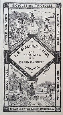 1885 Ad (1800-21)~A.g. Spalding Co. Chicago. Bicycles And Tricycles, Velocipedes