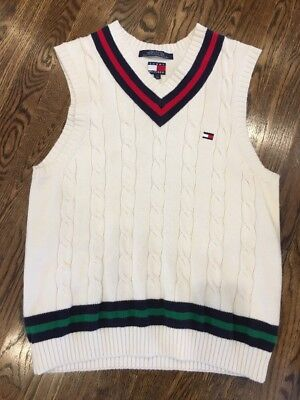 Tommy Hilfiger Pullover Sweater Vest Navy Red Cream Boys Size Large 16-18