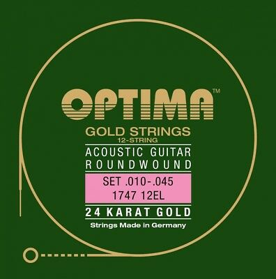 Optima 24K Gold 12-STRINGS Acoustic Guitars Strings Set Acoustic Guitar Strings
