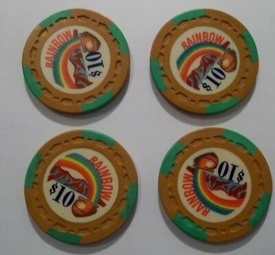 Rainbow Club Poker Casino Chip Lot Gardena Ca 4 ~ 10 Dollar Chips