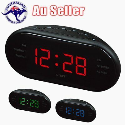 "AM/FM Dual Frequency Radio Clock 1.2"" LED Digital Alarm Clock  Snooze I5"