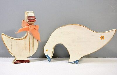 """Pair Handmade Country Wood Geese Goose White Distressed 3 1/2"""" 5"""" 1985"""