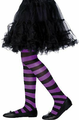 Children's Halloween Witch Tights Striped - Purple and Black, Age 6-12 Years