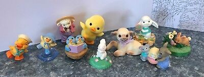 10 Hallmark Merry Miniature EASTER Flocked Duck & Lamb - Bunnies Birds SWEET