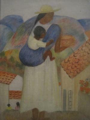 Charming Vintage Mexican Painting Signed Schwebel
