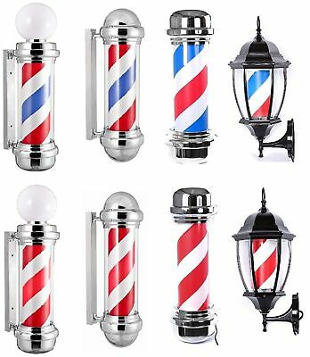 Barber Pole RED & WHITE & BLUE Stripes Classic Vintage Design Barbers Shop Sign
