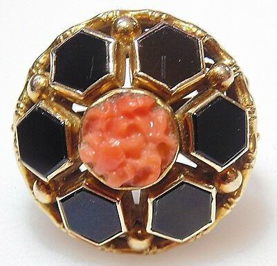 LARGE Victorian Antique 14K Solid Yellow Gold Black Onyx & Coral Mourning Ring