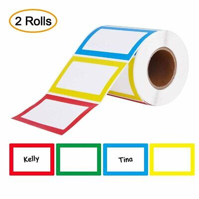 2 Rolls 4 Color 400 Name Tags Stickers Personalized Labels BIRTHDAY Party School