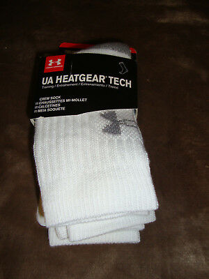 UA Under Armour Heatgear Tech Crew Socks, YMD  3- Pairs