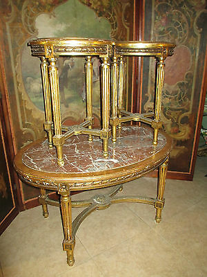 Antique French carved gilt wood Marble parlor Coffee 2 gueridons/Tables 3pc set