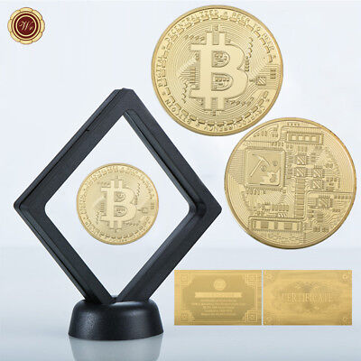 WR 24K Gold Plated BTC Coin In Display Case Physical Bitcoin Gifts For Him + COA