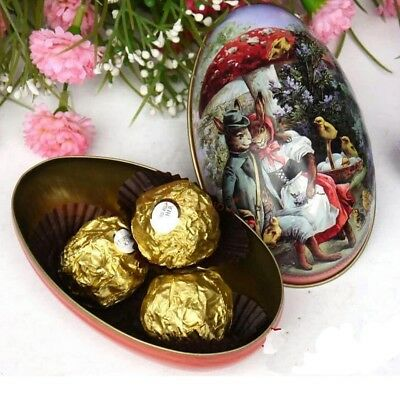 2pcs Easter Bunny Chick Printing Alloy Metal Trinket Tin Egg Shaped Candy Box