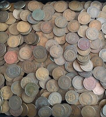 Lot of 40 Coins Mixed Indian Head Cent Pennies in Average Circ.  1800'S + 1900'S