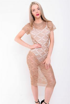 Women Rose Gold Black Distressed Knitted Dress Metallic Chain Cover Up Maxi