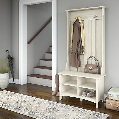 Hall Furniture with Shoe Storage Entryway Bench Antique White Engineered Wood