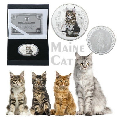 WR Maine Coon Cat Silver Plated Coin Vanuatu 5 Vatu Colorized Medal In Gift Box