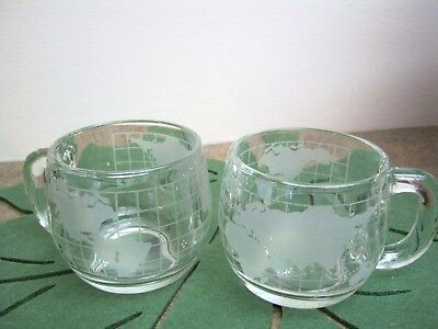 2 Vintage Nestle Nescafe Coffee Glass Etched World Mugs Cups Excellent Condition
