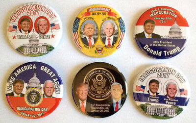 Donald Trump Mike Pence Inauguration 2017 Set of Six Collector's Buttons 2.25""