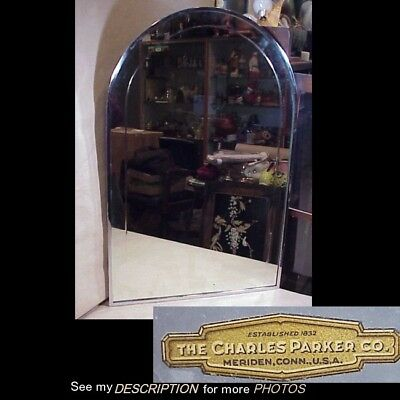 Antique 1920-30s Charles Parker Meriden Ct Art Deco Dome Top Mirror