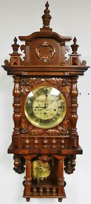 Vintage Franz Hermle Carved Oak Triple Chime Musical Free Swinger Wall Clock