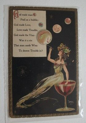 Beautiful Embossed Tuck Art Postcard - Wine Toasts of To-Day Antique French