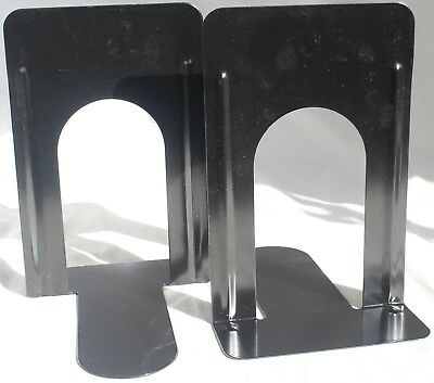 NEW 2 Piece Black Metal 9 - Inch Office Book Ends