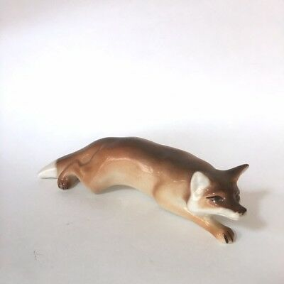 Fox Figurine Lomonosov Porcelain  Russia USSR Fox Hunting Decor