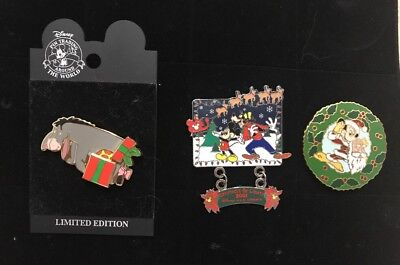 Lot of 3 Disney Christmas Pins: Eeyore, Mickey And Spectacle Of Lights 2001