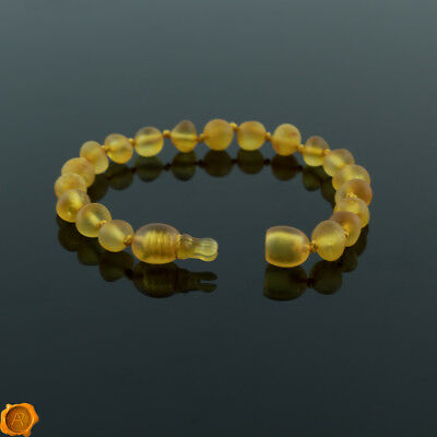 SAFETY POP CLASP Lab tested amber baby teething bracelet anklet raw amber beads