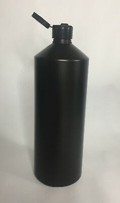 Empty 500ml Black HDPE Plastic Bottle And Black Flip Top Cap *ANY AMOUNT*