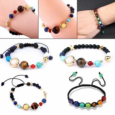 Gift Natural Stone Beads Solar System Bracelet Bangle Galaxy Planets