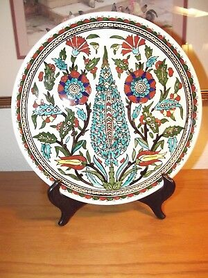 Turkish Elhamra Cini Fab Kutahya Hand-Painted Ceramic Cypress Tree Ottoman Plate