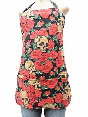 """Us Handmade  Reversible Apron With """"resting In Red Roses"""" Pattern, Cotton, New"""