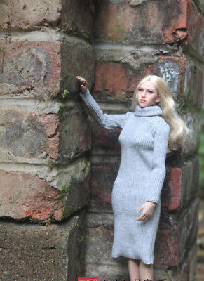 """NEW 1:6 Scale Gray Turtleneck Sweater Dress For 12"""" Phicen Hottoys Body Doll"""