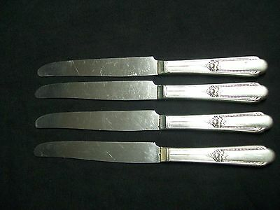 Vintage 1930's Lot of 4 WM Rogers A1 Plus IS Silver Plated Table Knives