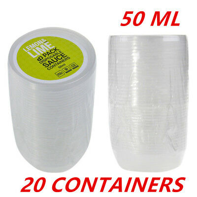 20 X Plastic 50ML Dipping Sauce Disposable Small Container Cups Lids Takeaway