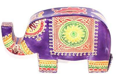 Purple Colorful Festival Elephant Trunk Up Genuine Leather Handmade Piggy Bank